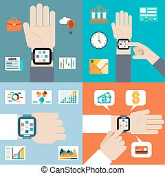 Payment and financial news via smart watch
