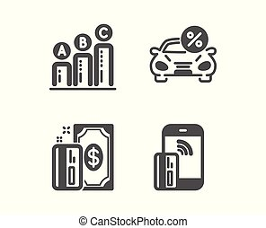 Payment, Car leasing and Graph chart icons. Contactless...