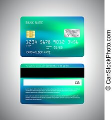 payment., cartão, crédito, lado, template., costas, azul, card., dinheiro, frente, néon, vetorial