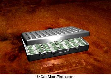 payment, cash, briefcase