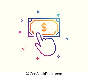 Payment click line icon. Dollar exchange sign. Vector