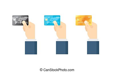Payment concept. Set of credit cards - vector illustration in flat style.