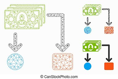 Payment Diagram Vector Mesh Wire Frame Model and Triangle Mosaic Icon