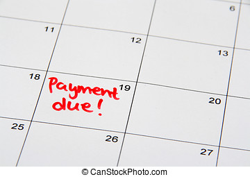 Payment Due - Reminder on the calendar of a due payment