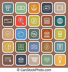 Payment flat icons on brown background