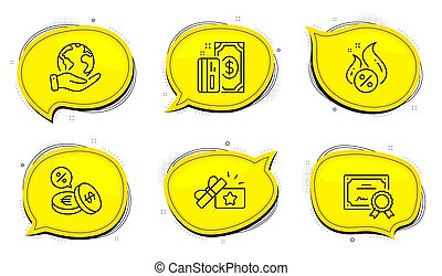 Payment, Hot loan and Loyalty gift icons set. Currency exchange sign. Cash money, Discount offer, Bonus award. Vector