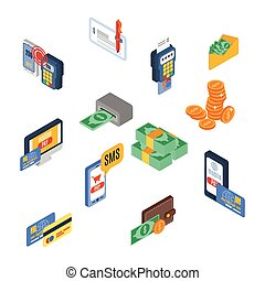 Payment icons isometric money financial commerce 3d elements set isolated vector illustration