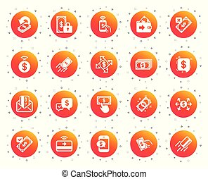 Payment icons. Set of Accept transfer, Pay with Phone and Card by mail. Vector