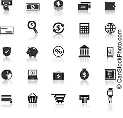 Payment icons with reflect on white background