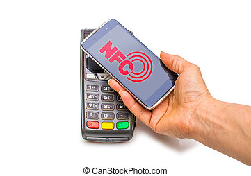 Payment in trade with the nfc system with a mobile phone. Top view, white background