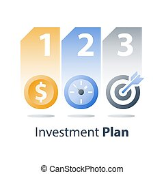 Payment installment, asset allocation, investment strategy, time is money, coin and clock, fast loan, financial credit providing