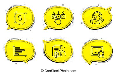 Payment message, Certificate and Horizontal chart icons set. Correct checkbox sign. Vector
