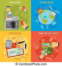 Payment methods 4 flat icons square