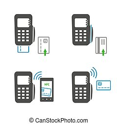 Vector icons of payments methods. Processing of mobile payment, isolated on white background.