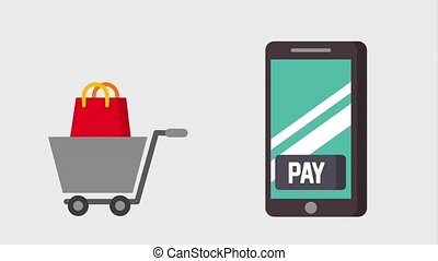 payment mobile tag price shopping cart and bag animation