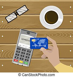Payment nfc contactless, cashless transaction vector. Pay...