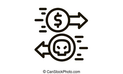 Payment of Hacker Services Icon Animation. black Payment of Hacker Services animated icon on white background