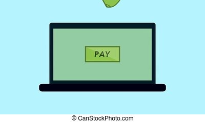 Payment on laptop animation