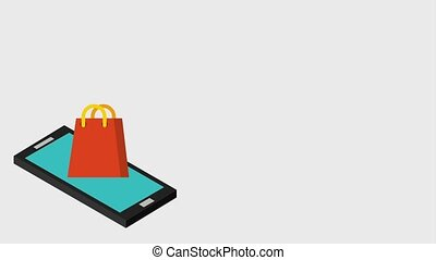 payment online digital animation - animation smartphone with...