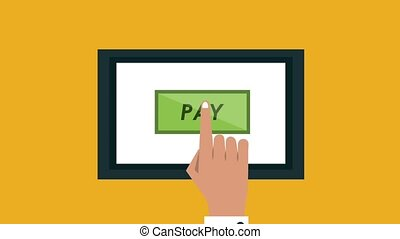Payment online from tablet HD animation