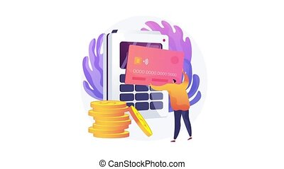 Ecommerce website, shopping cart, credit card payment, bank transfer, digital wallet, order processing, online banking abstract concept motion graphics metaphor. 4K seamless loop animation footage.
