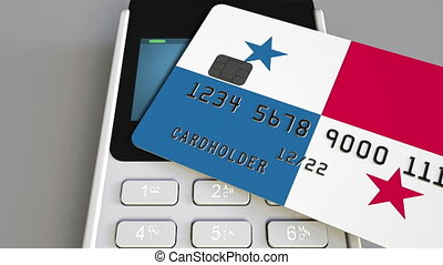 Payment or POS terminal with credit card featuring flag of Panama. Panamian retail commerce or banking system conceptual animation