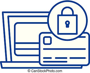 Payment protection line icon concept. Payment protection flat vector symbol, sign, outline illustration.