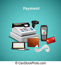 Payment Realistic Composition - Payment processing on pos ...
