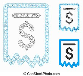 Payment Receipt Vector Mesh Wire Frame Model and Triangle Mosaic Icon