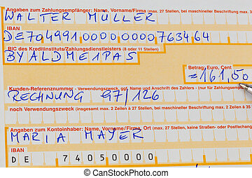 payment slip with iban number - a payment form for the ...