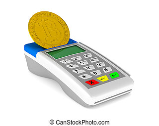 payment terminal and bitcoin on white background. Isolated...