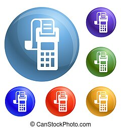 Payment terminal icons set 6 color isolated on white...