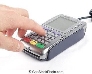 Payment terminal with keypad and a finger pressing entering...