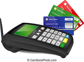 Wireless payment terminal with blue, green and red bank cards isolated on white background