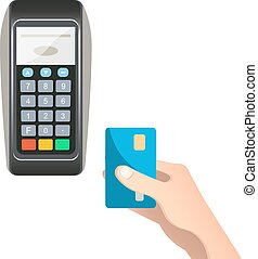 Payment terminal with credit card.