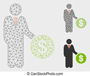 Payment Vector Mesh Wire Frame Model and Triangle Mosaic Icon