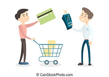 Payment with card. Man paying for products with card and...