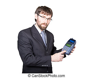 Payment with credit card - businessman holding pos terminal. isolated on white background