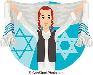 payot, judío, catre, hassid, rabbi