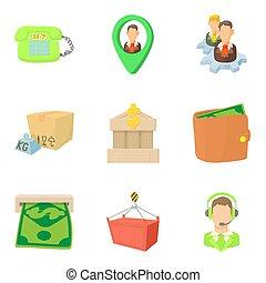 Payout icons set, cartoon style - Payout icons set. Cartoon...