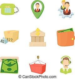Payout icons set, cartoon style
