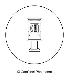 Payphone icon in outline style isolated on white background....