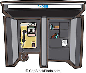 Payphone in a City - Cute Payphone and bookshelf in a City