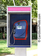 Payphone - Modern blue payphone booth with card slot