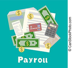 Payroll, invoice sheet flat illustration. Payroll template, ...