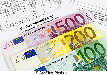 German payroll with euro banknotes
