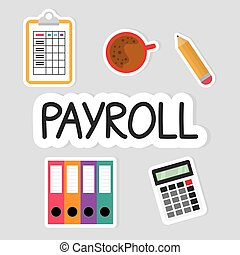 payroll word concept composition - vector illustration