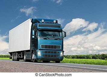 pays, été, camion, autoroute