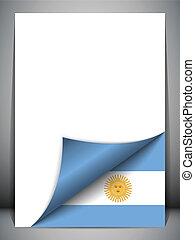 pays, argentine, tourner, drapeau, page