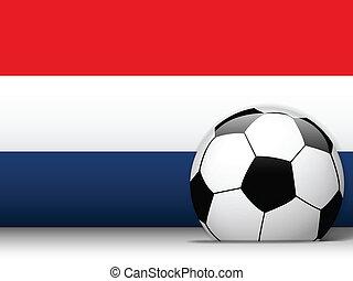 pays-bas, boule football, à, drapeau, fond